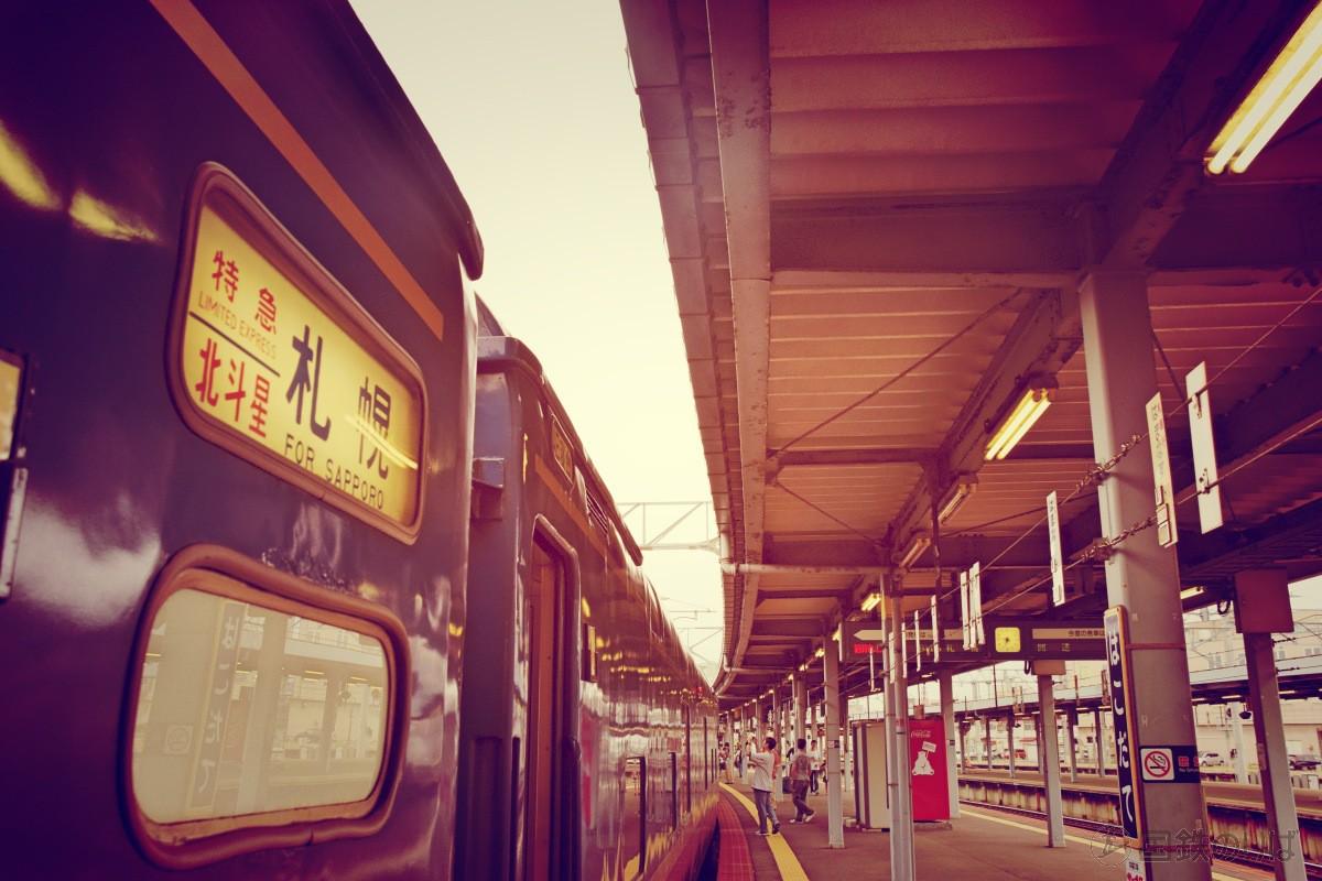 大きくカーブを描いた函館駅のホームに青い客車が止まっている姿はそれだけで絵になる。