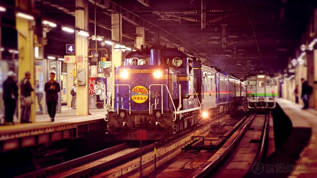 札幌駅に入線するDD51-1143牽引の急行「はまなす」