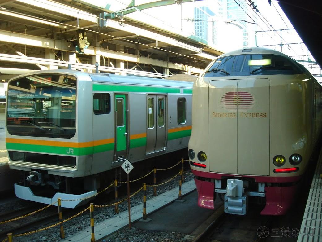 サンライズ瀬戸・出雲も東京ー横浜間の最速列車だ。28.8kmを23分で駆け抜け、表定速度は75.1km/h。